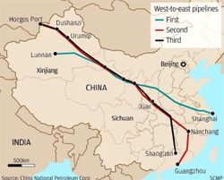This simplified map of the West-East Pipeline network gives a good impression of the scale of the project, even without the fourth pipeline. (Courtesy China National Petroleum Corporation)