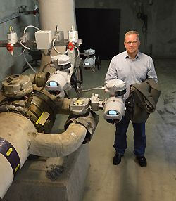 Mr. Lars Haugaard, Maintenance Manager for CTR, with some of the new Rotork IQ3 actuators in the valve chamber.
