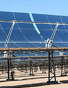 A section of the parabolic troughs in a solar power plant.