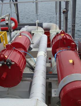 Rotork GP range, spring-return, scotch yoke pneumatic actuator installations on the sea terminal at Quintero Bay.