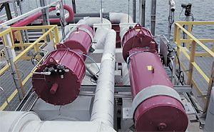 Rotork GP range, spring-return, scotch-yoke pneumatic actuator installations on the sea terminal at Quintero Bay