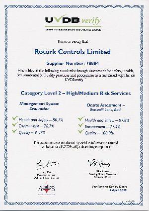 Rotork: Rotork Controls UVDB Certificate