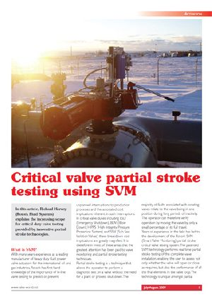 Critical valve partial stroke testing using SVM