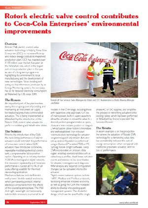 Rotork electric valve control contributes to Coca-Cola Enterprises' environmental improvements