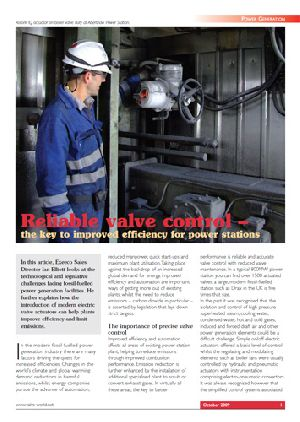 Reliable valve control – the key to improved efficiency for power stations