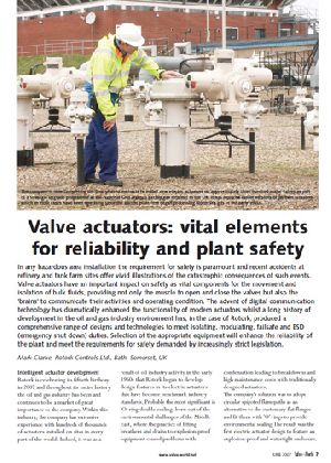 Valve actuators: vital elements for reliability and plant safety