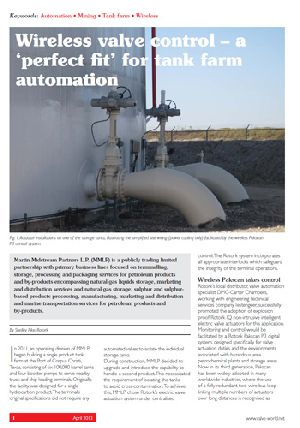 Wireless valve control – a 'perfect fit' for tank farm automation