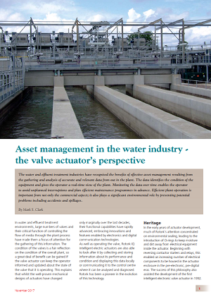 Asset Management in the Water Industry - the Valve Actuator's Perspective