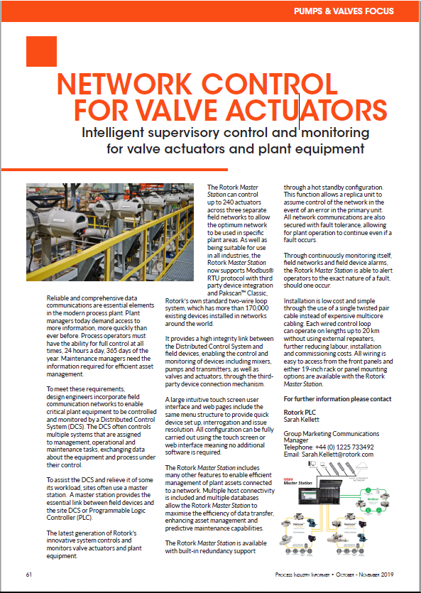 Network Control for Valve Actuators