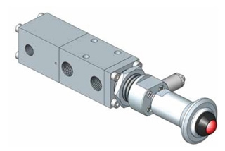 1500 series Spool Valve, Pad (to pull), Spring Return with Pilot & Manual Latch & Visual Indicator